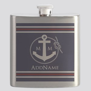 Navy Nautical Rope and Anchor Monogram Flask