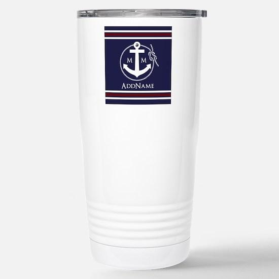 Navy Nautical Rope and Stainless Steel Travel Mug