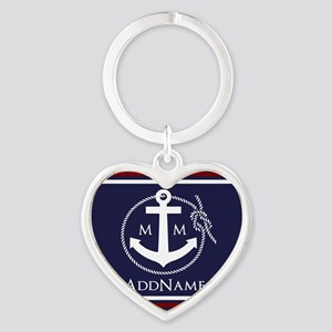 Navy Nautical Rope and Anchor Monog Heart Keychain