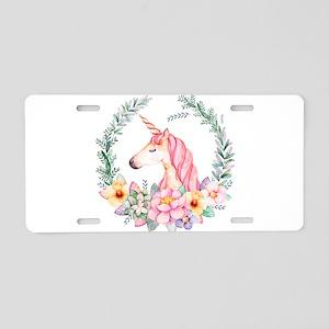 Pink Unicorn Aluminum License Plate