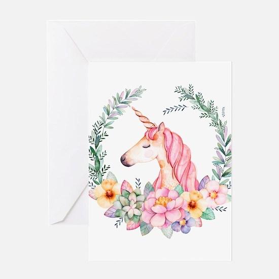 Pink Unicorn Greeting Cards