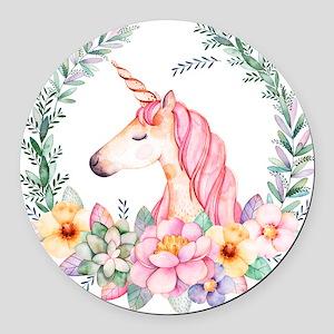Pink Unicorn Round Car Magnet