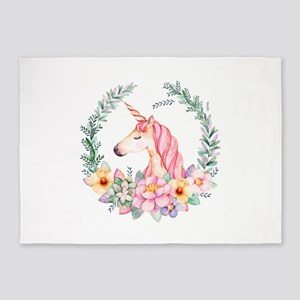 Pink Unicorn 5'x7'Area Rug