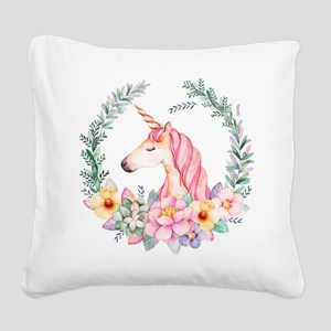 Pink Unicorn Square Canvas Pillow