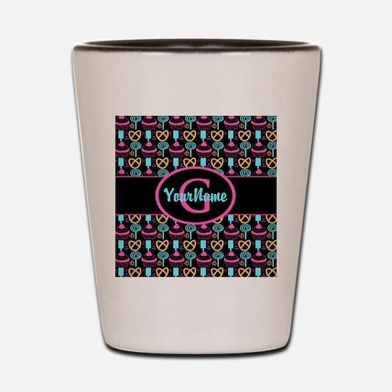 Modern Monogram Cupcakes Girly Shot Glass