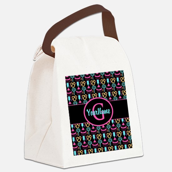 Modern Monogram Cupcakes Girly Canvas Lunch Bag