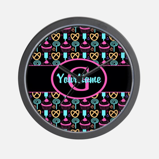 Modern Monogram Cupcakes Girly Wall Clock