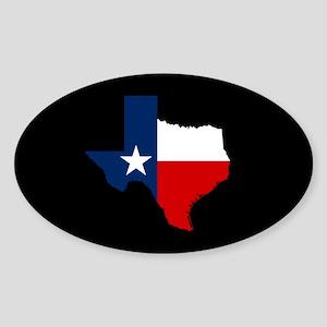 Texas Flag on Texas Outline Sticker (Oval)