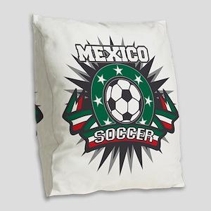 Mexico Soccer Ball Burlap Throw Pillow
