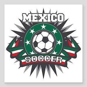 "Mexico Soccer Ball Square Car Magnet 3"" x 3"""