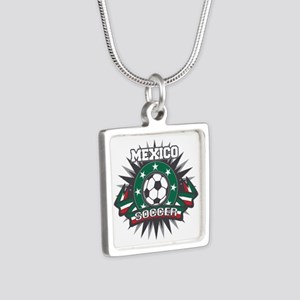 Mexico Soccer Ball Silver Square Necklace
