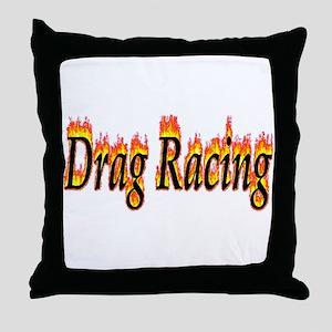 Drag Racing Flame Throw Pillow