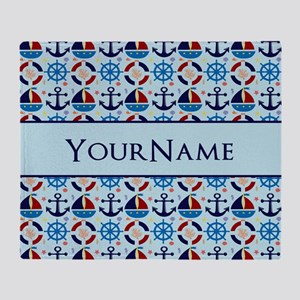 Nautical Anchor Ships Personalized Throw Blanket