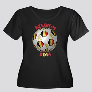 Belgium Women's Plus Size Scoop Neck Dark T-Shirt