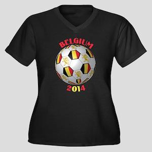 Belgium Foot Women's Plus Size V-Neck Dark T-Shirt