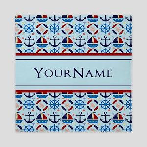 Nautical Stripes Cute Anchor Monogram Queen Duvet