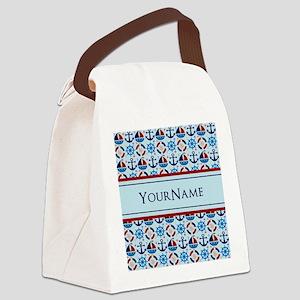 Nautical Stripes Cute Anchor Mono Canvas Lunch Bag