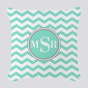 Mint Blue-Green Gray Monogram Chevron Woven Throw