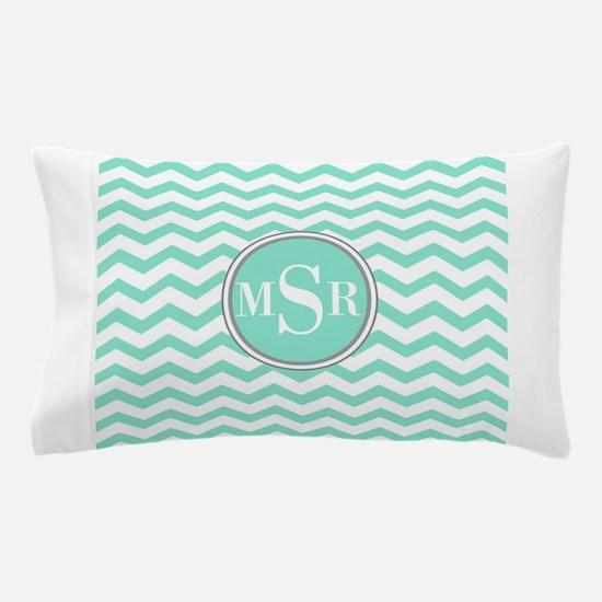 Mint Blue-Green Gray Monogram Chevron Pillow Case