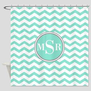 Mint Blue-Green Gray Monogram Shower Curtain