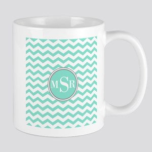 Mint Blue-Green Gray Monogram Chevron Mugs