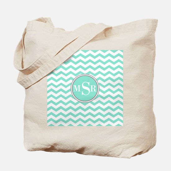 Mint Blue-Green Gray Monogram Chevron Tote Bag