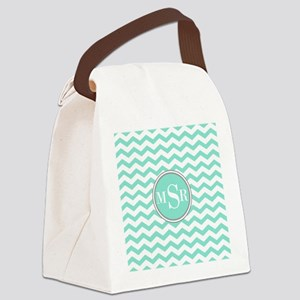 Mint Blue-Green Gray Monogram Chevron Canvas Lunch