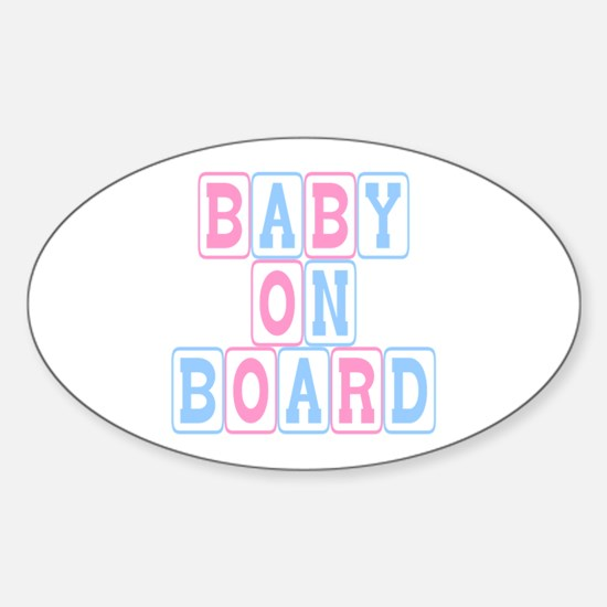 Baby On Board (blocks) Oval Decal