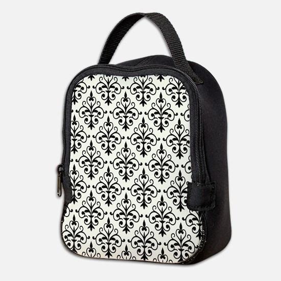 White & Black Damask 41 Neoprene Lunch Bag