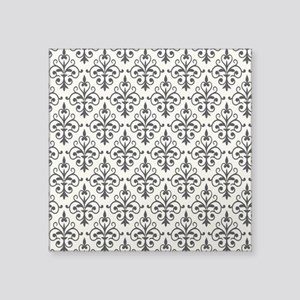 "White & Black Damask 41 Square Sticker 3"" x 3"""