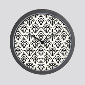 White & Black Damask 41 Wall Clock