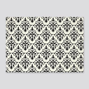 White & Black Damask 41 5'x7'Area Rug