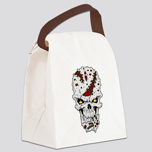 Happy Camper-skull-White Canvas Lunch Bag