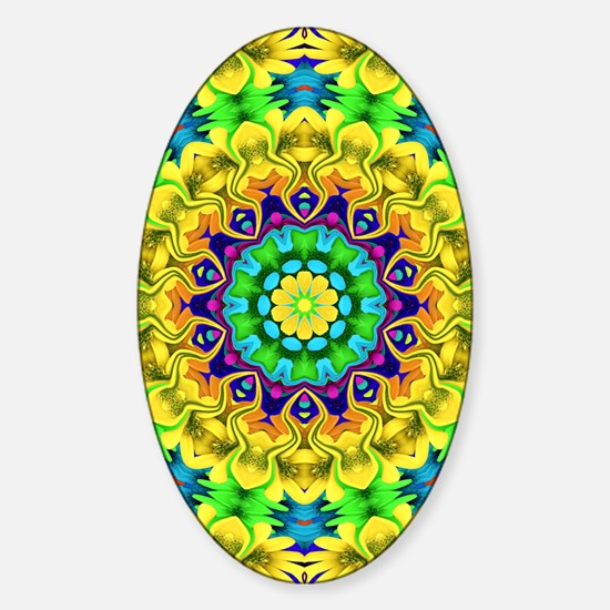 Colorful Kaleidoscope Sticker (Oval)
