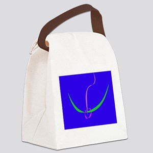 Bow and Arrow Solid Blue Canvas Lunch Bag