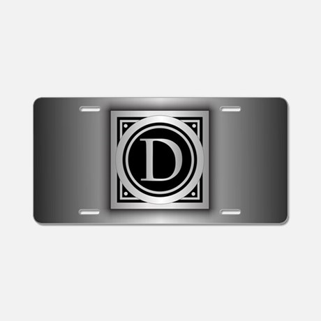 Deco Monogram Aluminum License Plate