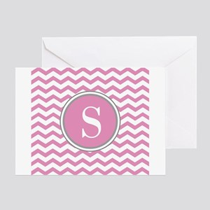 Any Letter, Pink White Gray Chevron Greeting Cards