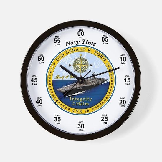 USS Gerald R. Ford CVN-78 Wall Clock