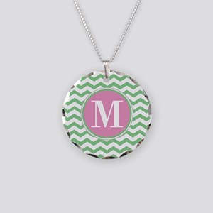Any Letter, Pink and Green C Necklace Circle Charm