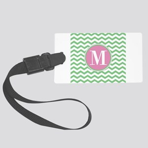 Any Letter, Pink and Green Chevr Large Luggage Tag