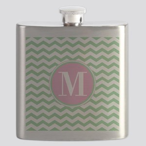 Any Letter, Pink and Green Chevron Monogram Flask