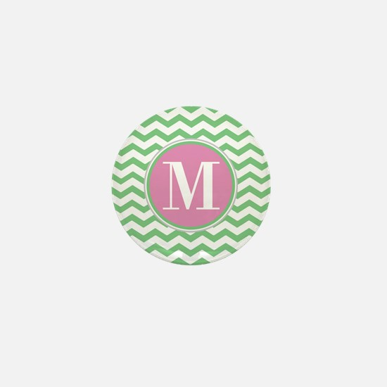 Any Letter, Pink and Green Chevron Mon Mini Button