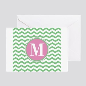 Any Letter, Pink and Green Chevron M Greeting Card
