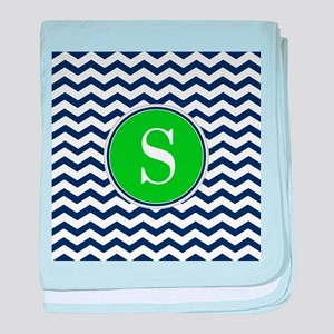 Any Letter, Navy Blue and Green Chevr baby blanket