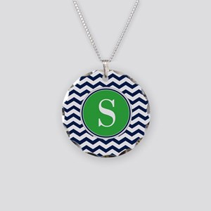 Any Letter, Navy Blue and Gr Necklace Circle Charm