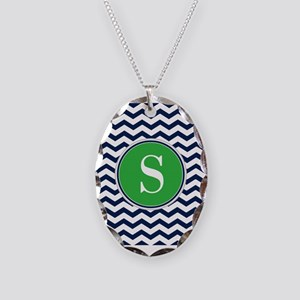 Any Letter, Navy Blue and Gree Necklace Oval Charm