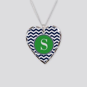 Any Letter, Navy Blue and Gre Necklace Heart Charm