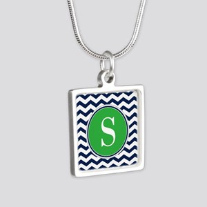 Any Letter, Navy Blue and Silver Square Necklace