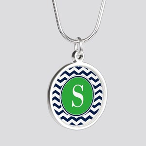 Any Letter, Navy Blue and Gr Silver Round Necklace