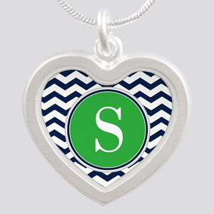 Any Letter, Navy Blue and Gr Silver Heart Necklace